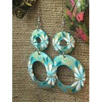 Coconut Shell Ear Ring Green Color