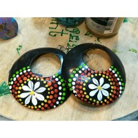Coconut Shell Ear Ring Black-Multi Color