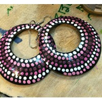 Coconut Shell Ear Ring Purple Color