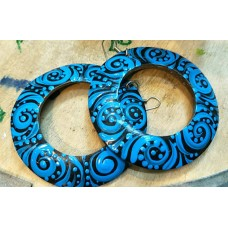 Coconut Shell Ear Ring Blue Color