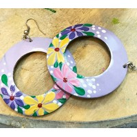 Coconut Shell Ear Ring Purple-Multi Color