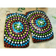 Coconut Shell Ear Ring Multi Color